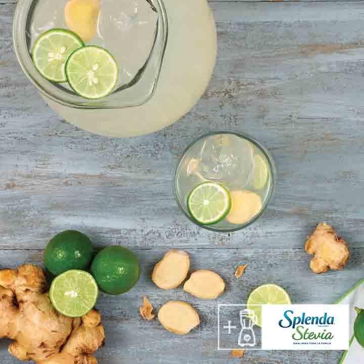 Refrescante agua de limón y jengibre